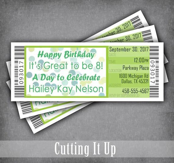 Movie Theme Birthday Party Ticket Invitation / Concert Ticket Etsy