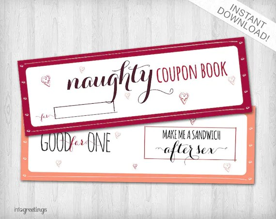 Printable NAUGHTY Coupons for boyfriend husband significant other Etsy