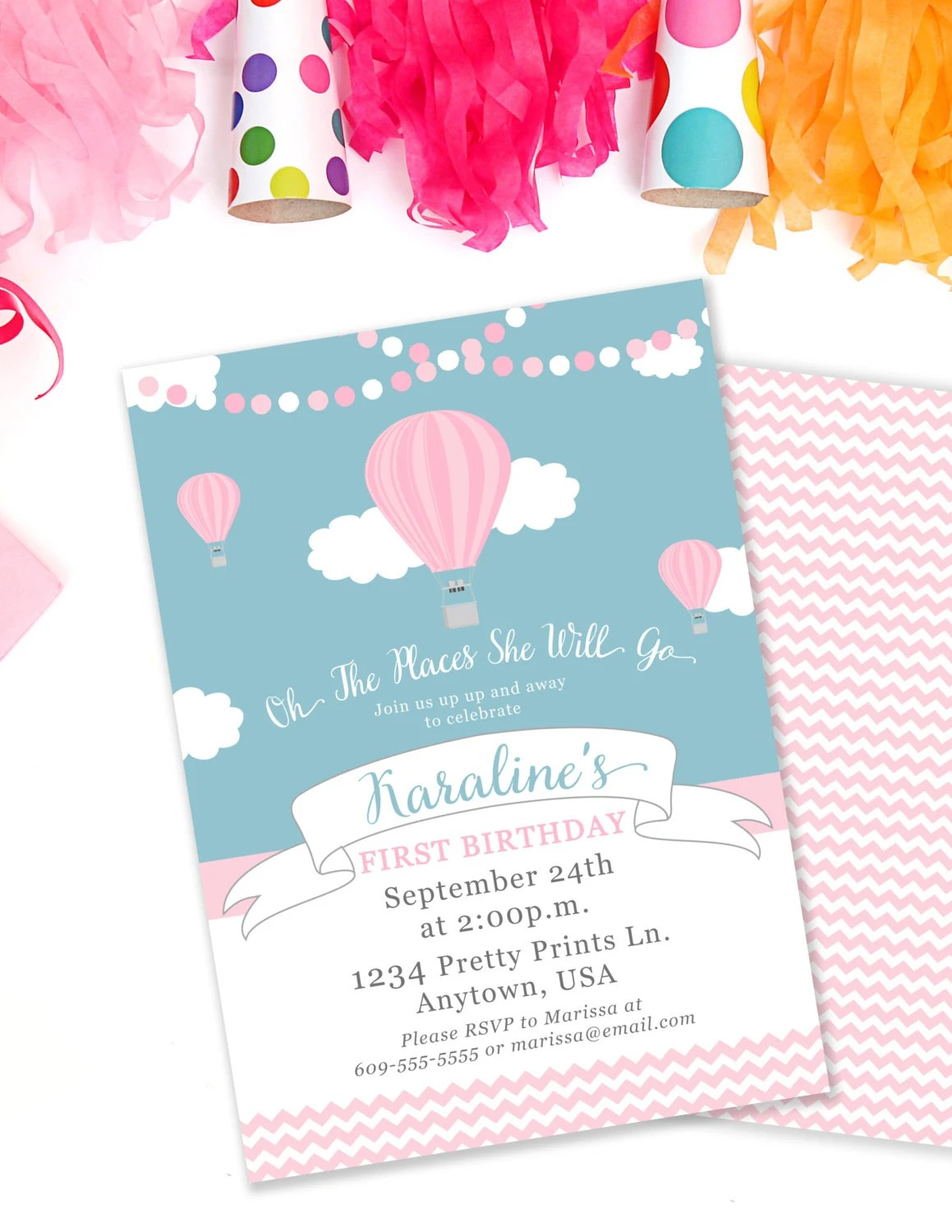Hot Air Balloon Birthday Invitation, Oh The Places Invite, Up and