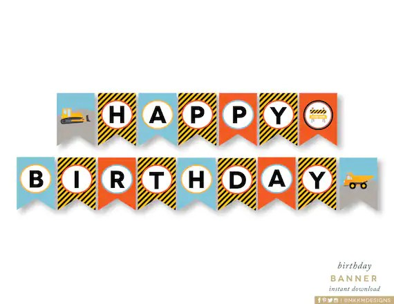 Happy Birthday Banner, Construction Birthday Party, Party Banner