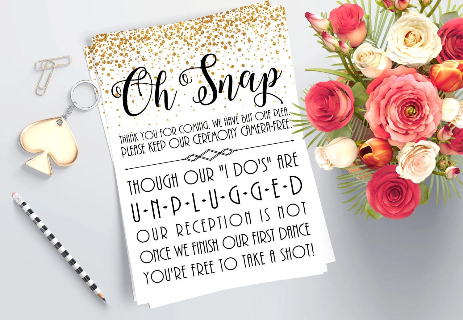 Printable Unplugged Ceremony Sign Gold Wedding Decorations Etsy