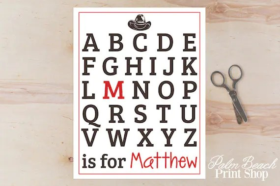 Personalized Cowboy Wall Decor Printable Alphabet Wall Art