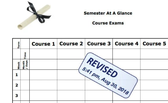 Semester at a Glance - Course Exams - College Planner - Professor