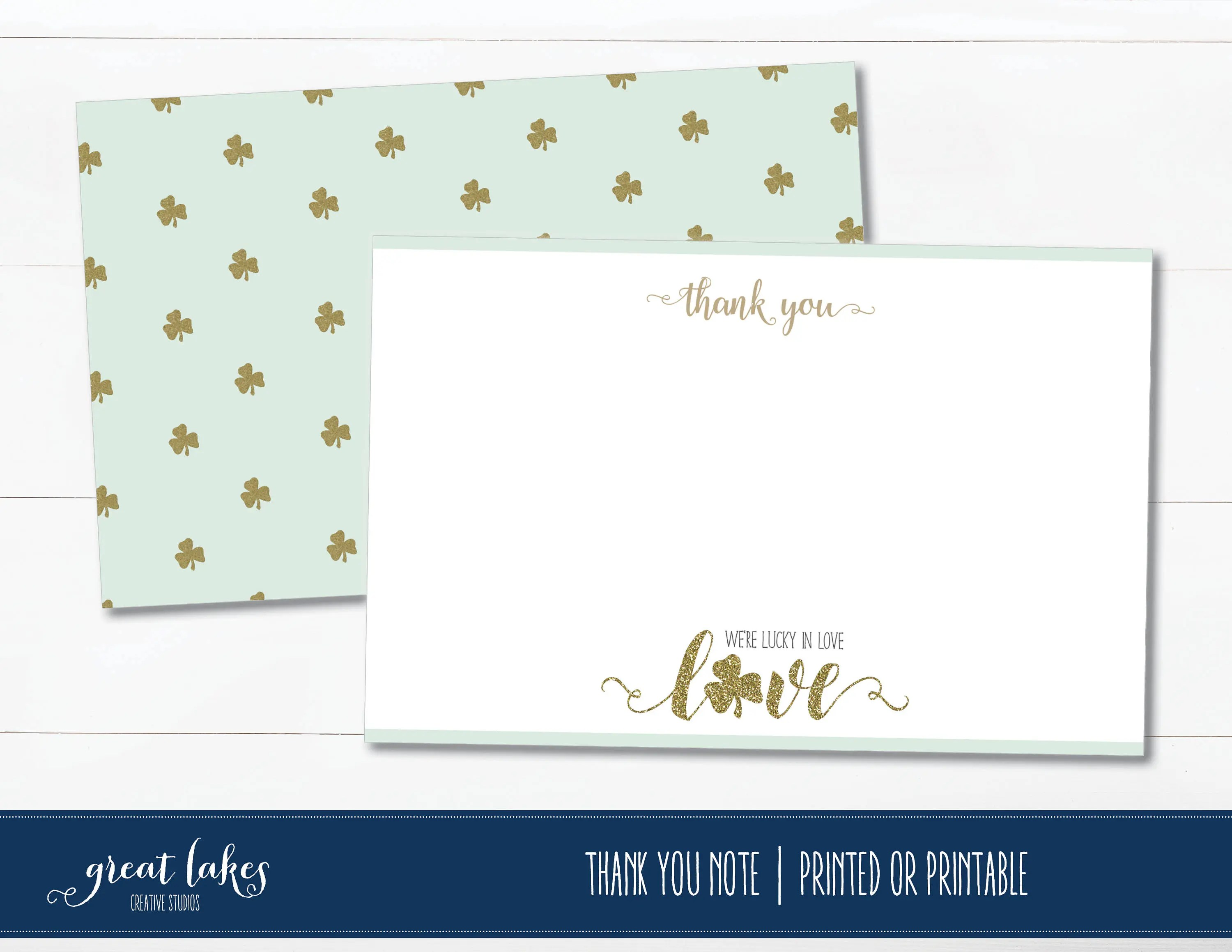 Lucky in Love Thank You Cards Bridal Shower Thank you Notes Etsy