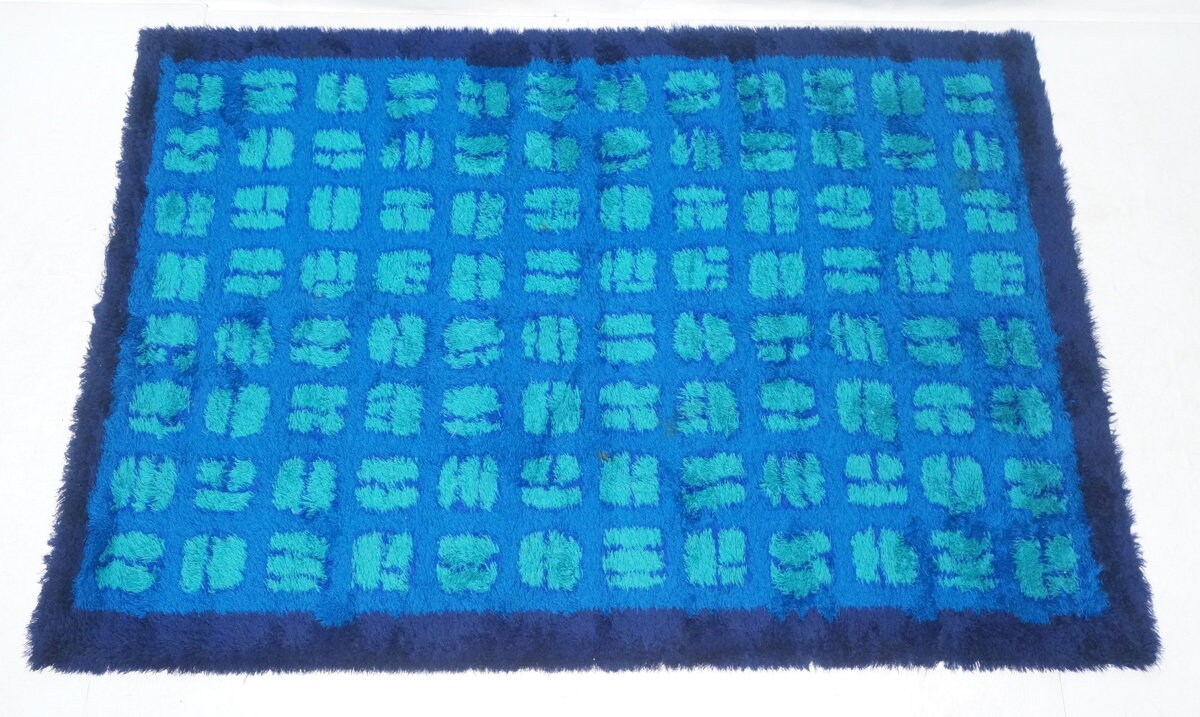 Blue Shag Rug Mid Century Modern Era Royal Blue Wool Fiber Shag Rug With Navy Blue Edging And Teal Squares Killusk Ca 1960s