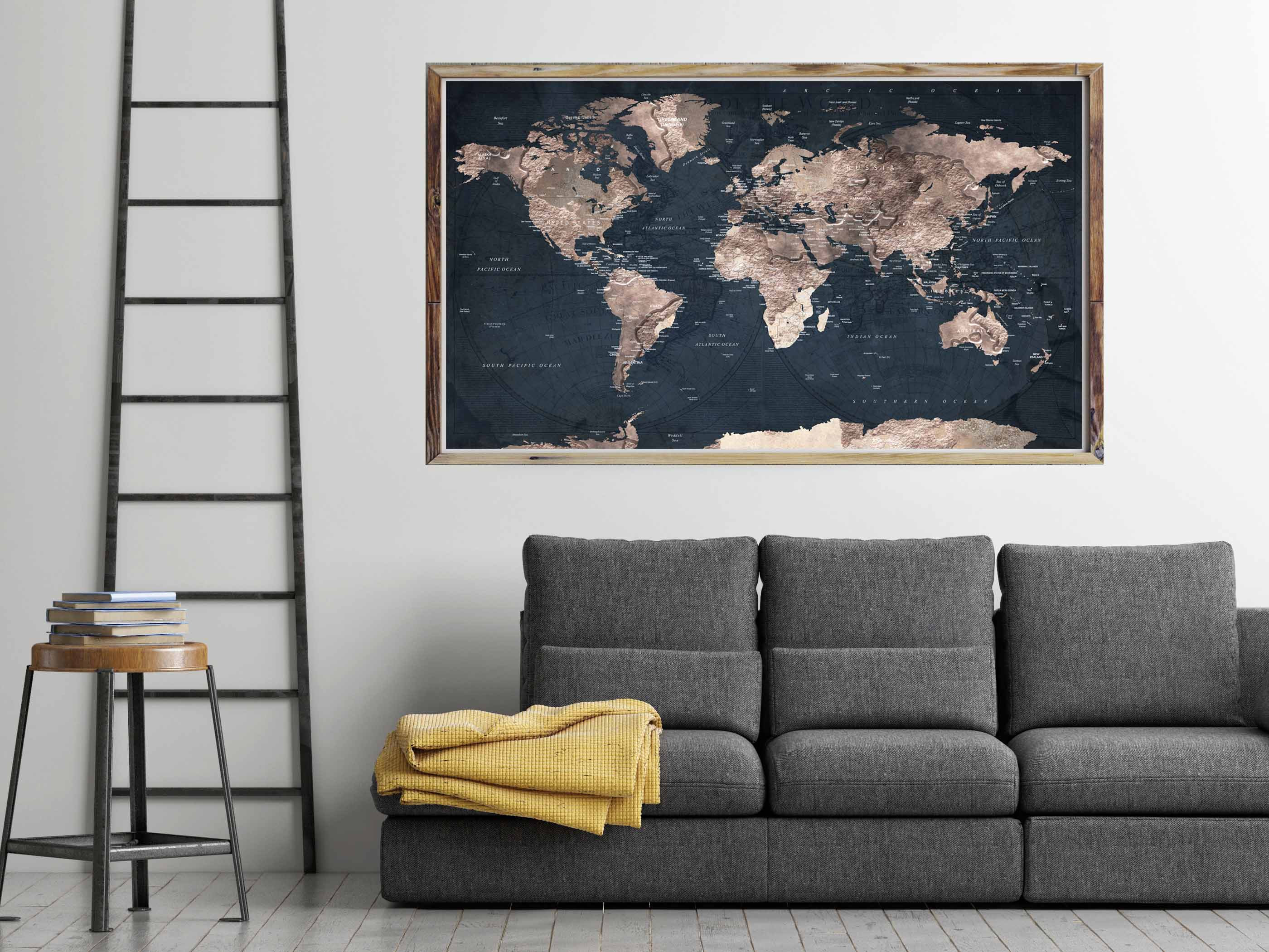Poster Of The World World Map Large Poster Print Travel Map Poster World Map Poster