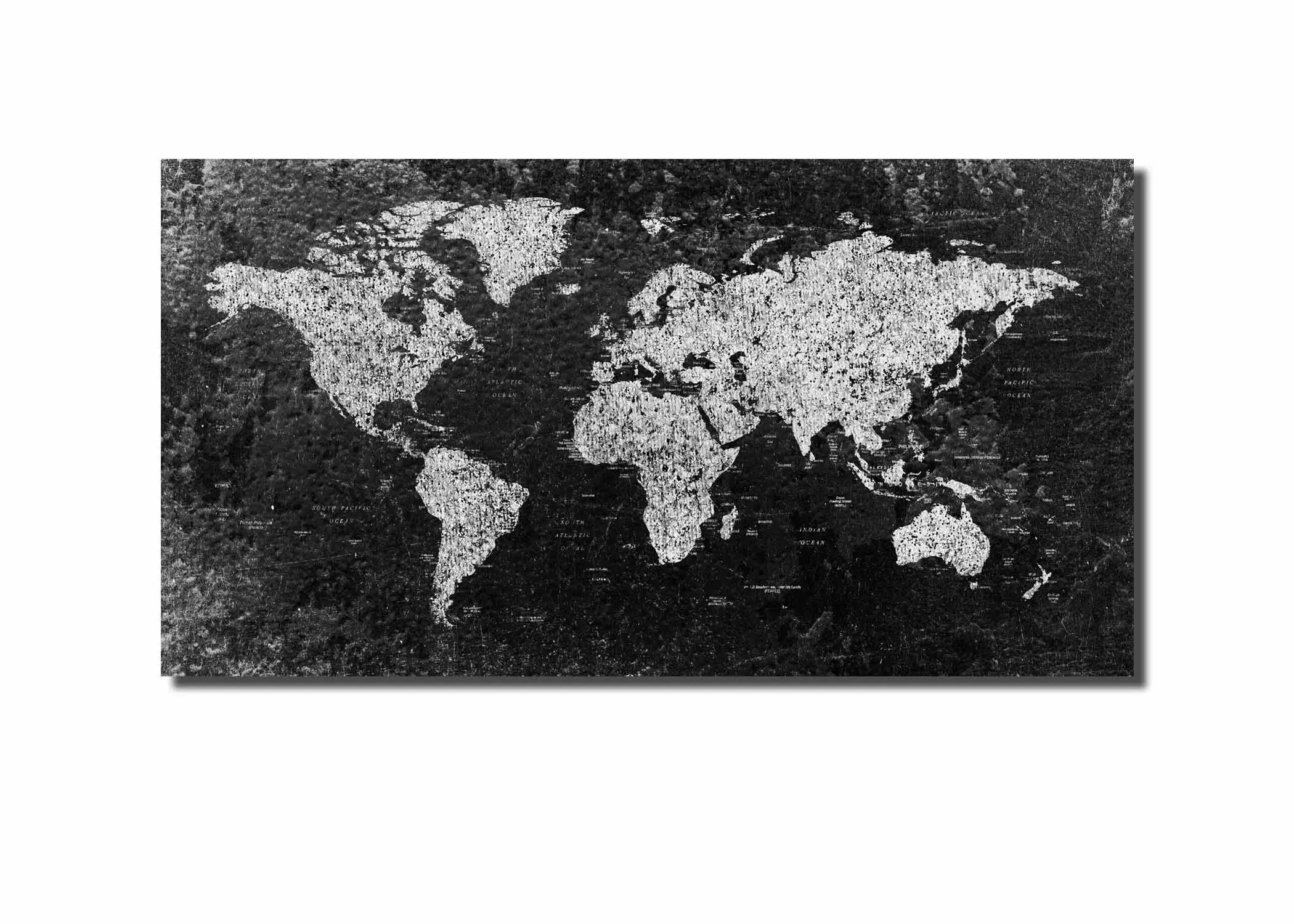 Black And White Canvas Pictures World Map Large Black And White World Map World Map Canvas