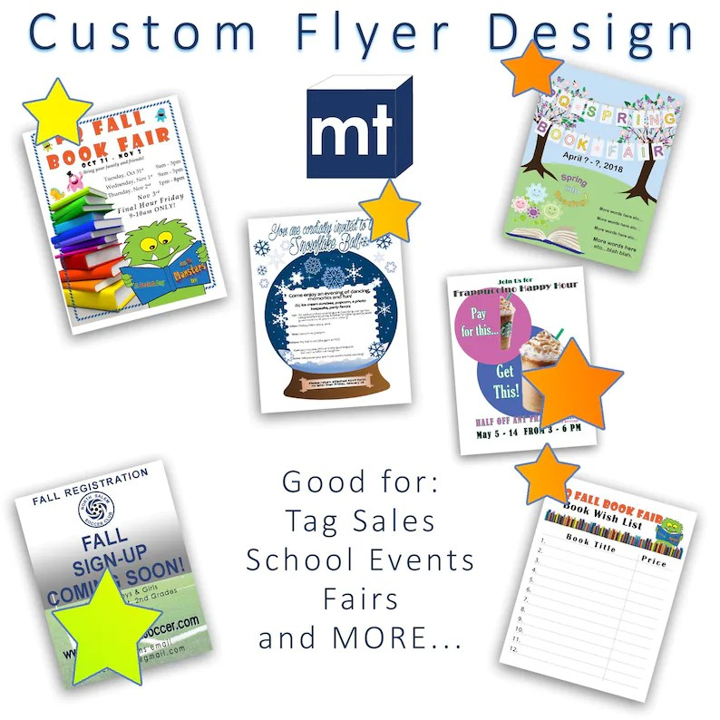 Custom Printable Flyer Design Promotions,PTO,PTA,Parties,Events,Coupons,  Call to Action