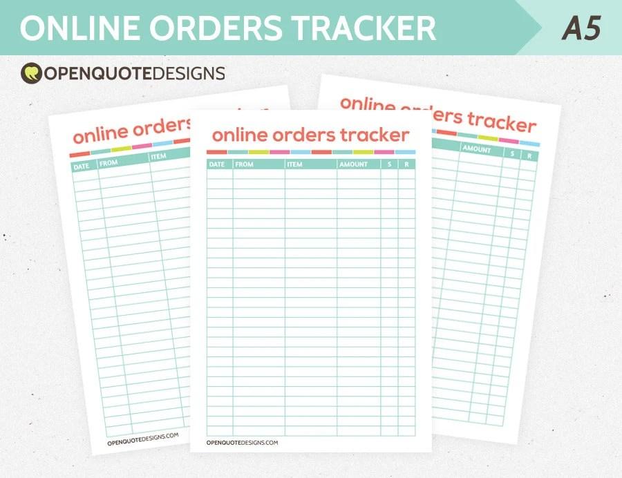 A5 Filofax A5 Inserts Online Order Tracker Finance Planner Etsy