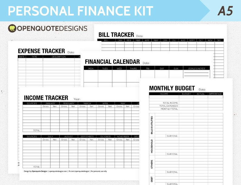 A5 Filofax Finance Printable Personal Finance Kit Monthly Etsy