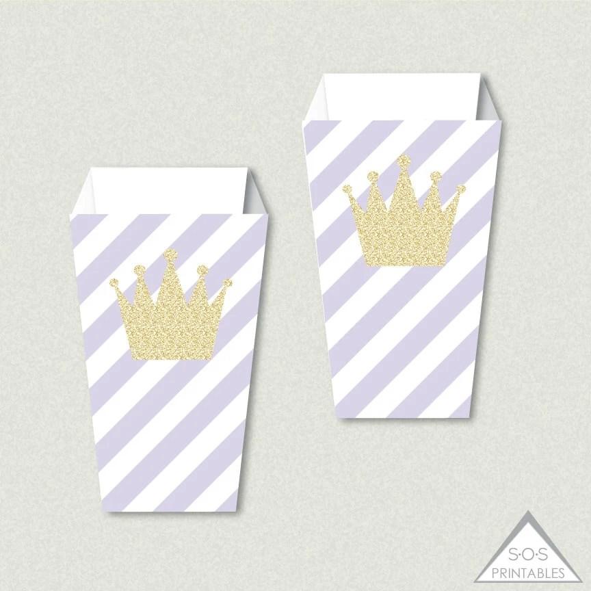 Princess Printable Popcorn Boxes Gold Crown Popcorn Box Etsy