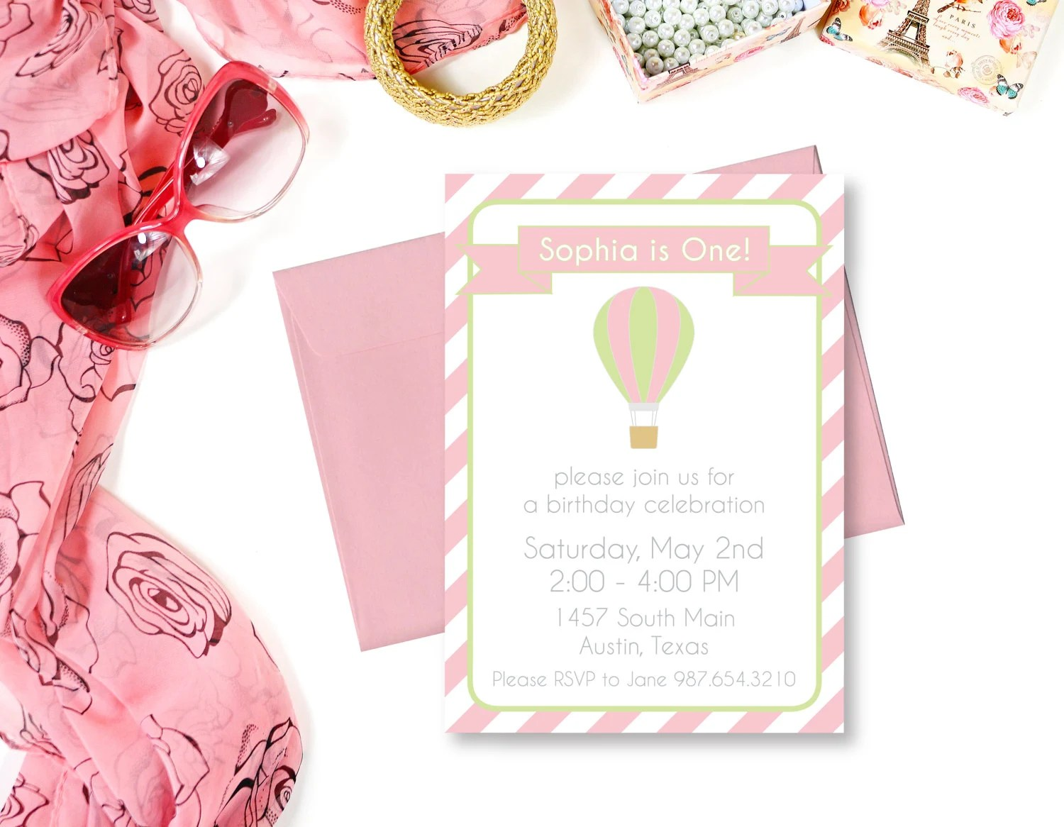 INSTANT DOWNLOAD Hot Air Balloon Birthday Invitation Hot Air Etsy