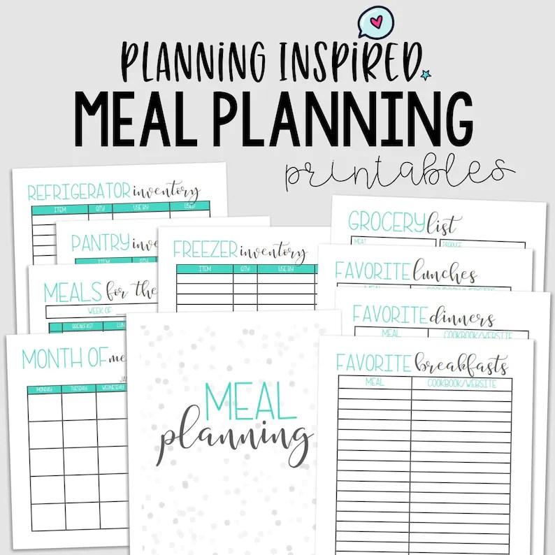 Menu Planner PDF Printable Meal Planner Family Meal Planner Etsy