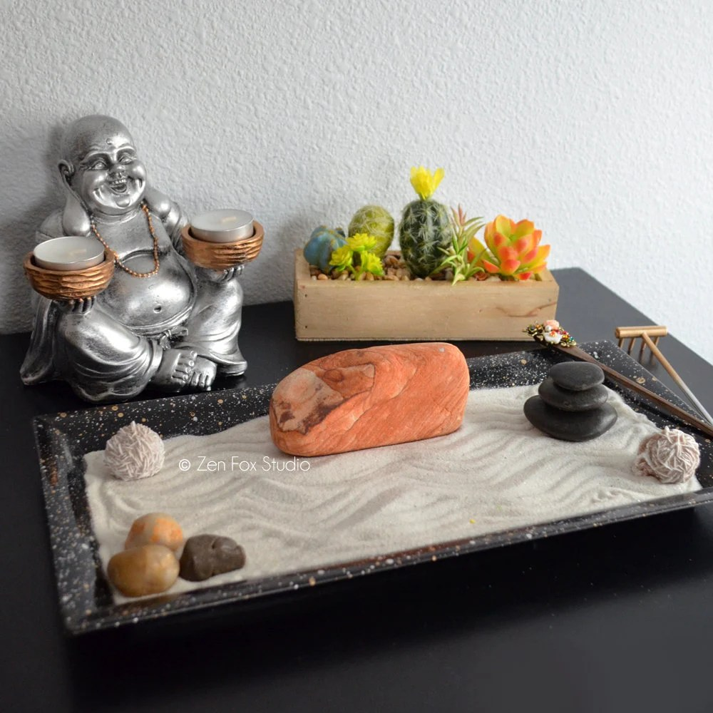 Table Top Zen Garden Tabletop Zen Garden Meditation Altar Rhyolite Sandstone Happy Buddha Statue Candle Holder Gifts For Him Masculine Decor Cactus Desert