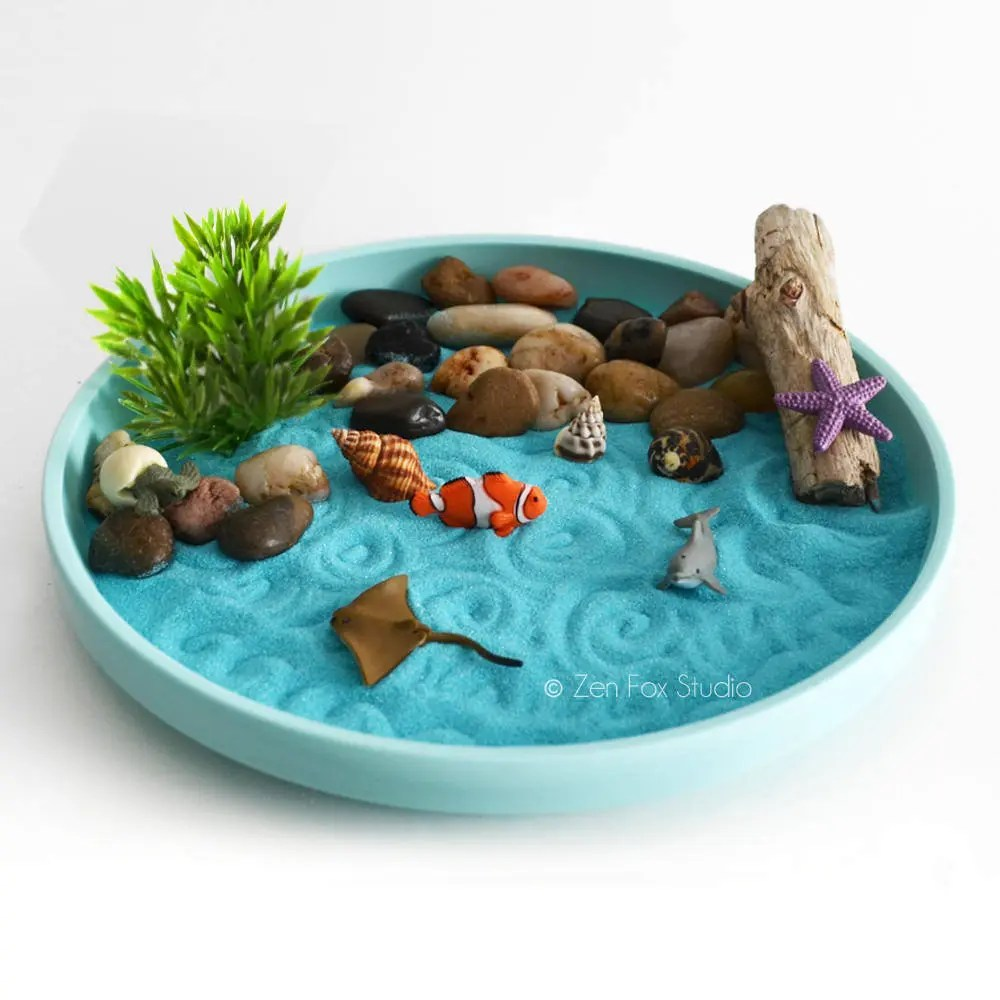 Strand Im Garten Anlegen Mini Zen Garden Ocean Sand Garden Desk Accessory Diy Kit Driftwood Beach Tabletop Decor Sand Art Meditation Fidget Toy