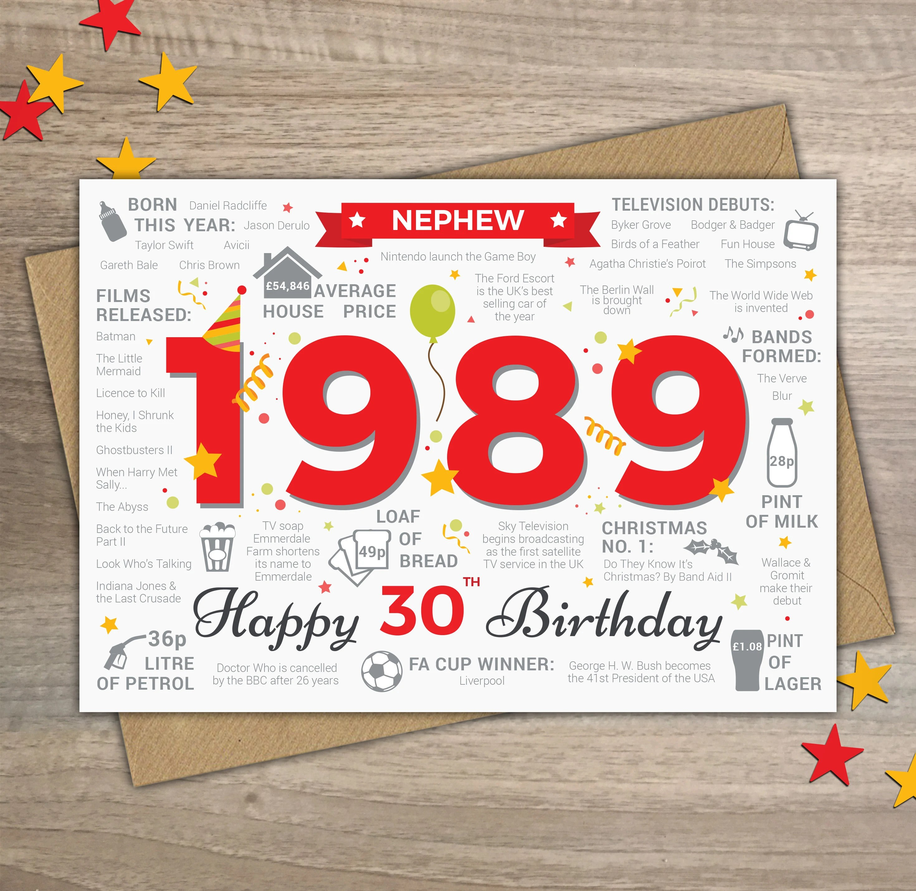 Happy Casa Tappeto Cucina Happy 30th Birthday Nephew Greetings Card Born In 1989 Year Of Birth Facts Memories Red