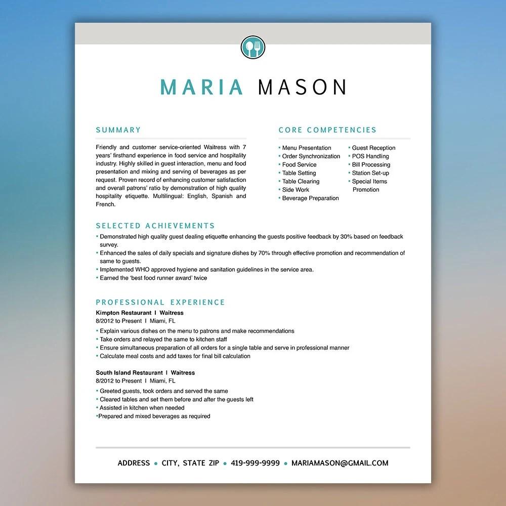Restaurant Resume Template Server Resume Food Service Etsy