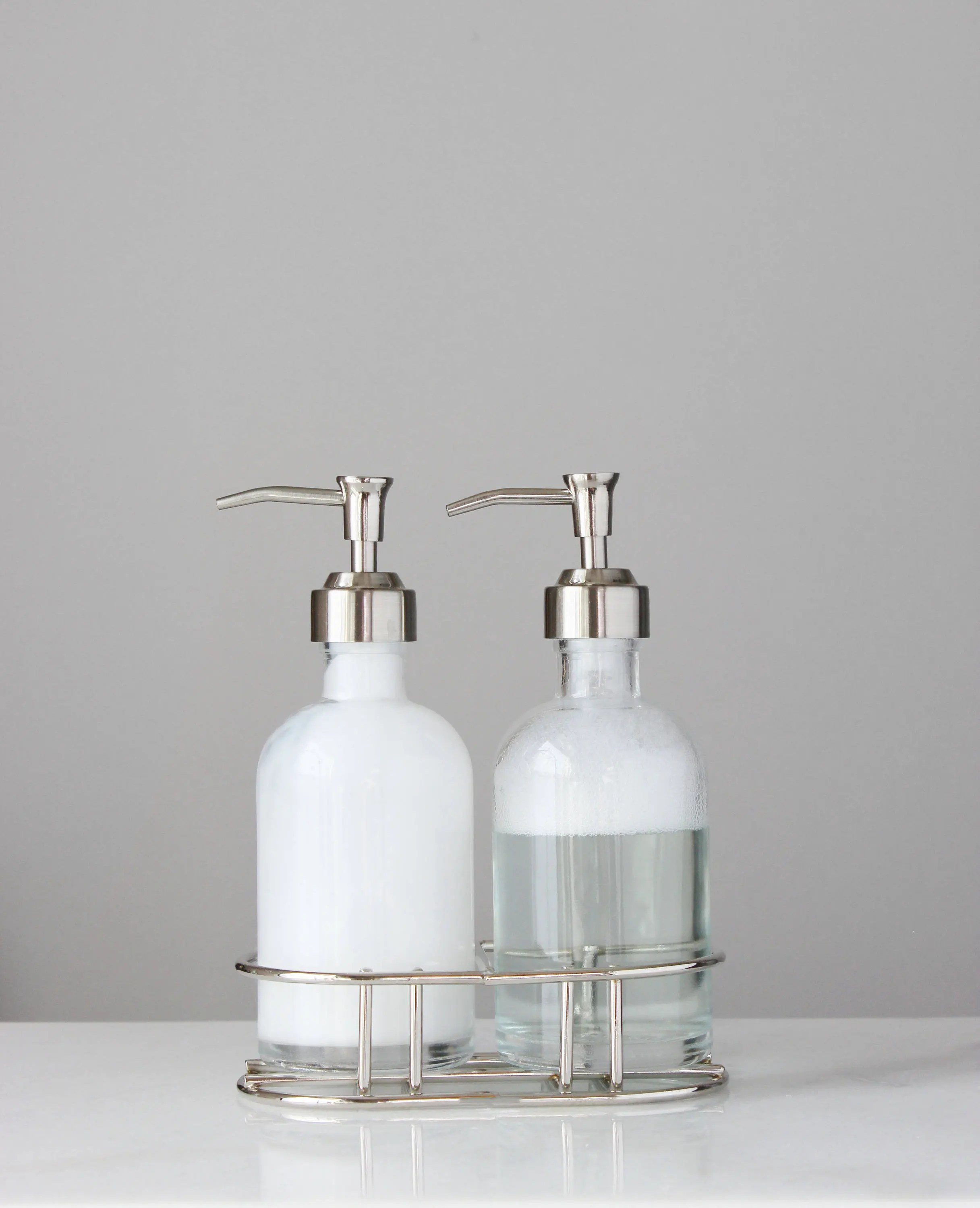 Unique Hand Soap Dispenser Glass Soap Dispenser Set With Metal Pump Chrome Silver Metal Caddy