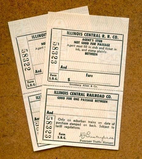 Vintage Railway Tickets Blank Illinois Central Railroad Etsy