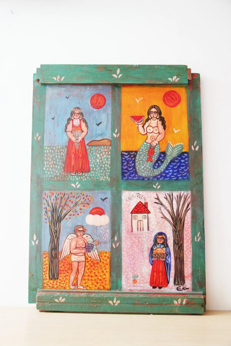 Arte Naif Nicaragua Four Seasons Painting Large Folk Art Painting On Wood Greek Folk Art Vintage Painting On Salvaged Wood Winter Spring Summer Fall