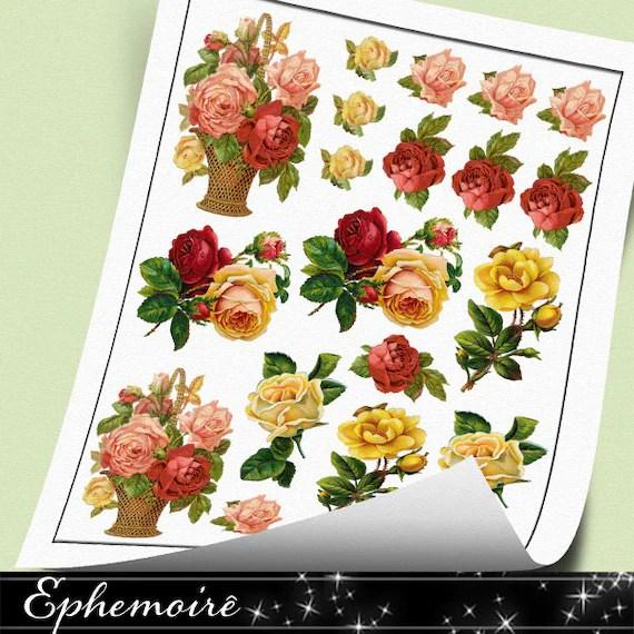 Digital Printable Sticker Sheet Victorian Roses 19 Digital Etsy