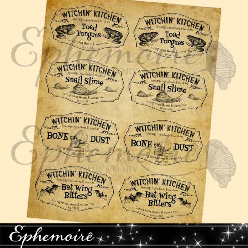 Digital Collage Scary Apothecary Labels 2 Printable Etsy