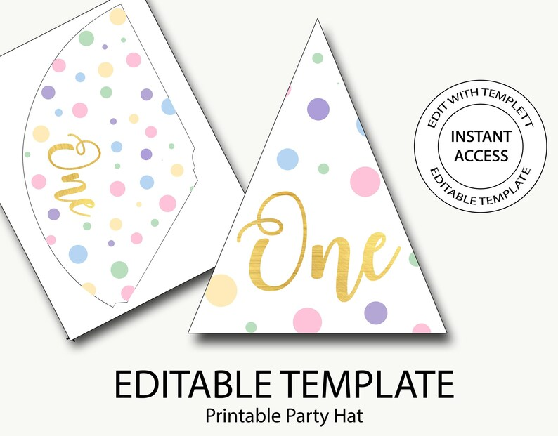 Party hat printable/first birthday party hat/polka dot party Etsy