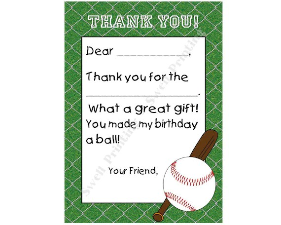INSTANT DOWNLOAD Printable Baseball thank you note #3, Digital flat thank  you note, Non- Personalized Fill-in-the-blank thank you note