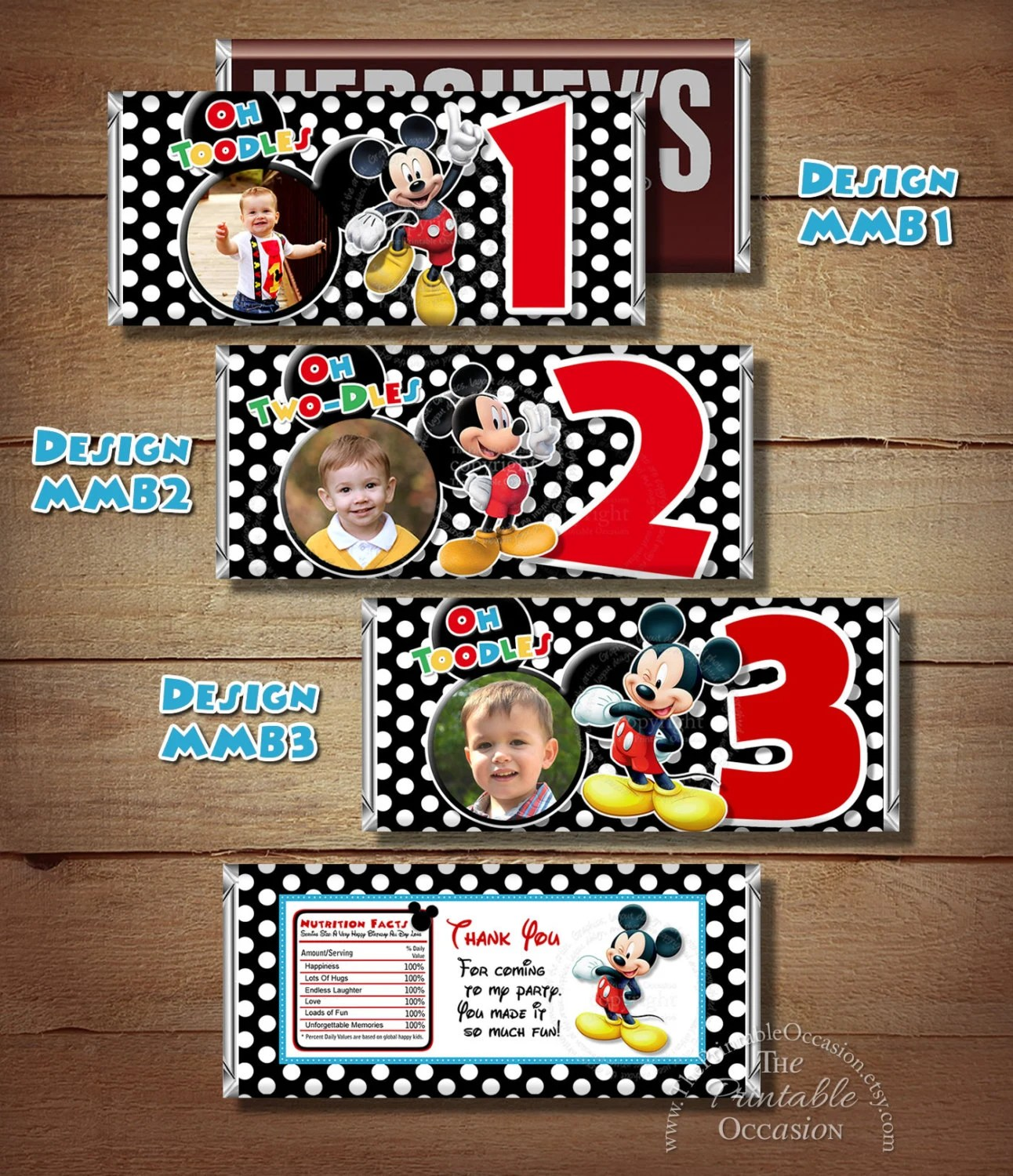 ANY AGE Printable Mickey Mouse Birthday Candy Bar Wrapper, Red Black