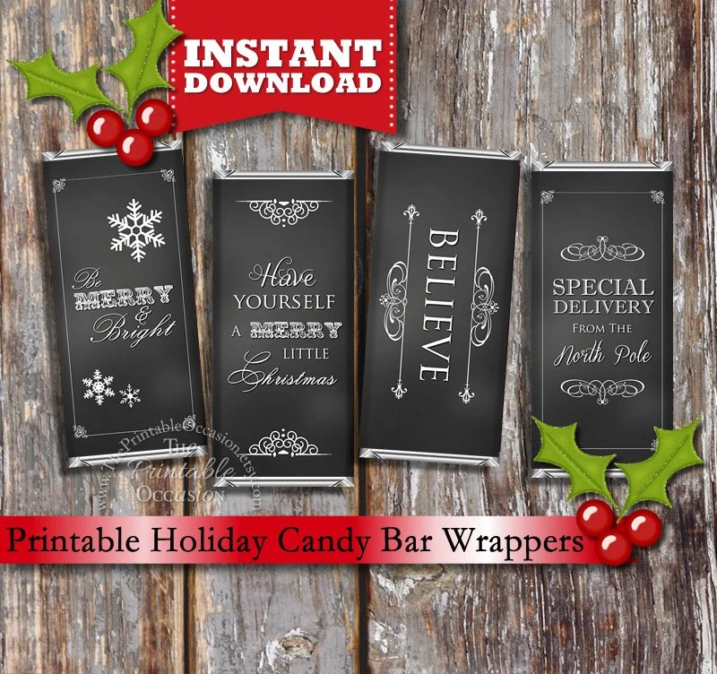 INSTANT DOWNLOAD Chalkboard Holiday Printable Candy Bar Wrappers
