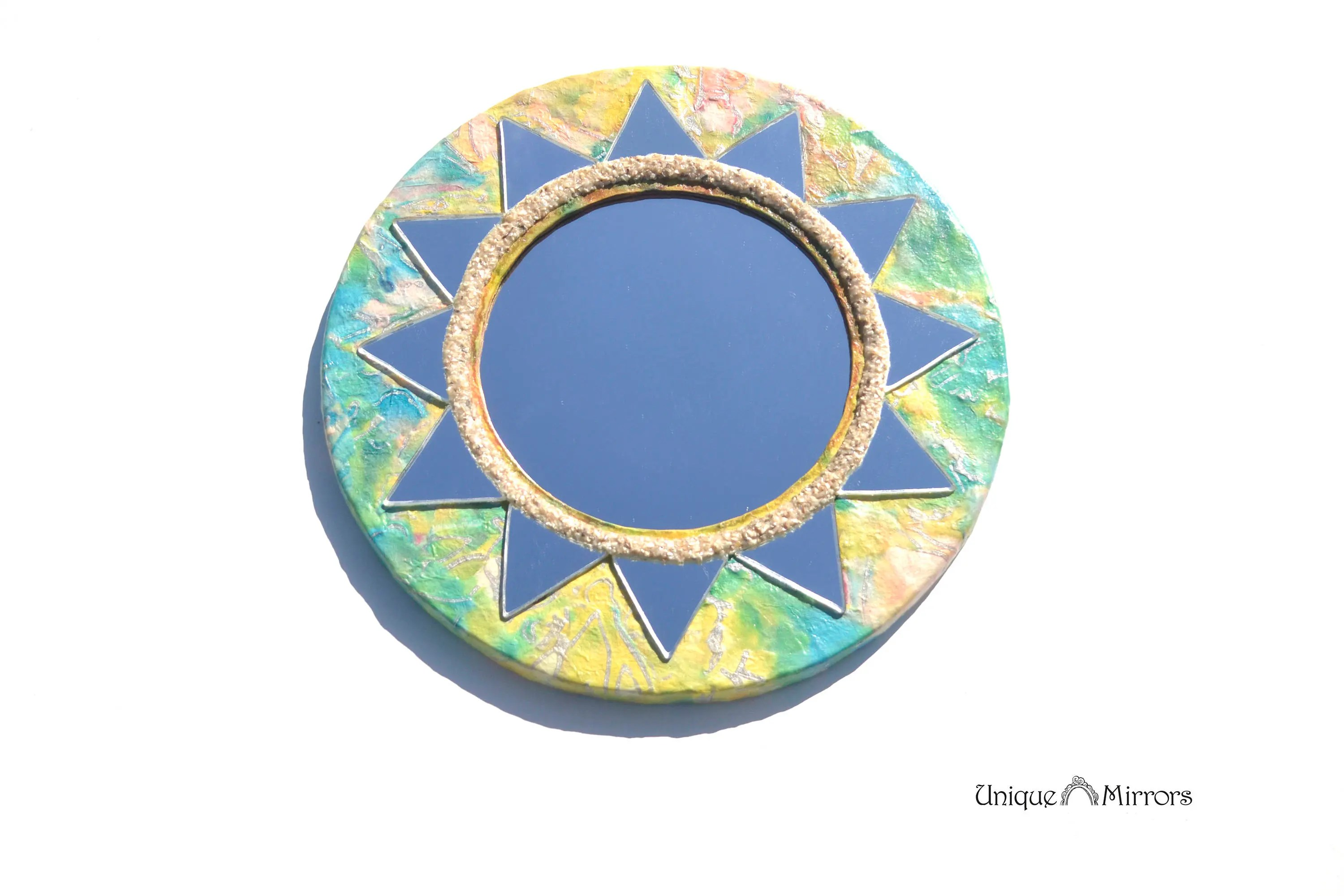 Sun Shaped Mirrors Colorful Sun Mirror Decorative Wall Mirror Large Round Mirrors Sunburst Mirror Modern Mirror Hippie Furniture Mirror For Wall