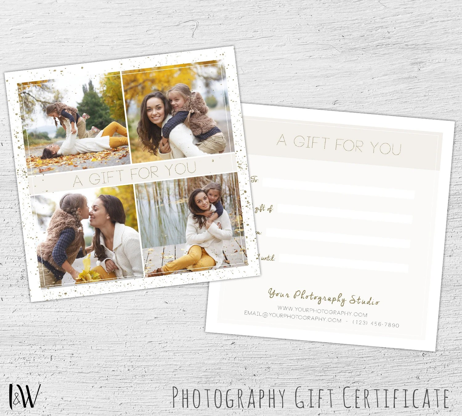 Gift Card Template, Fall Photography, Photography Gift Certificate