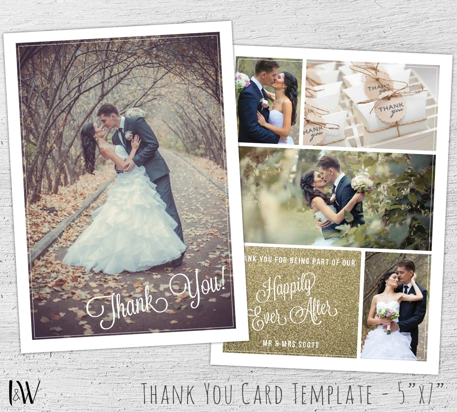 Wedding Thank You Card Template Photoshop Template Wedding Etsy