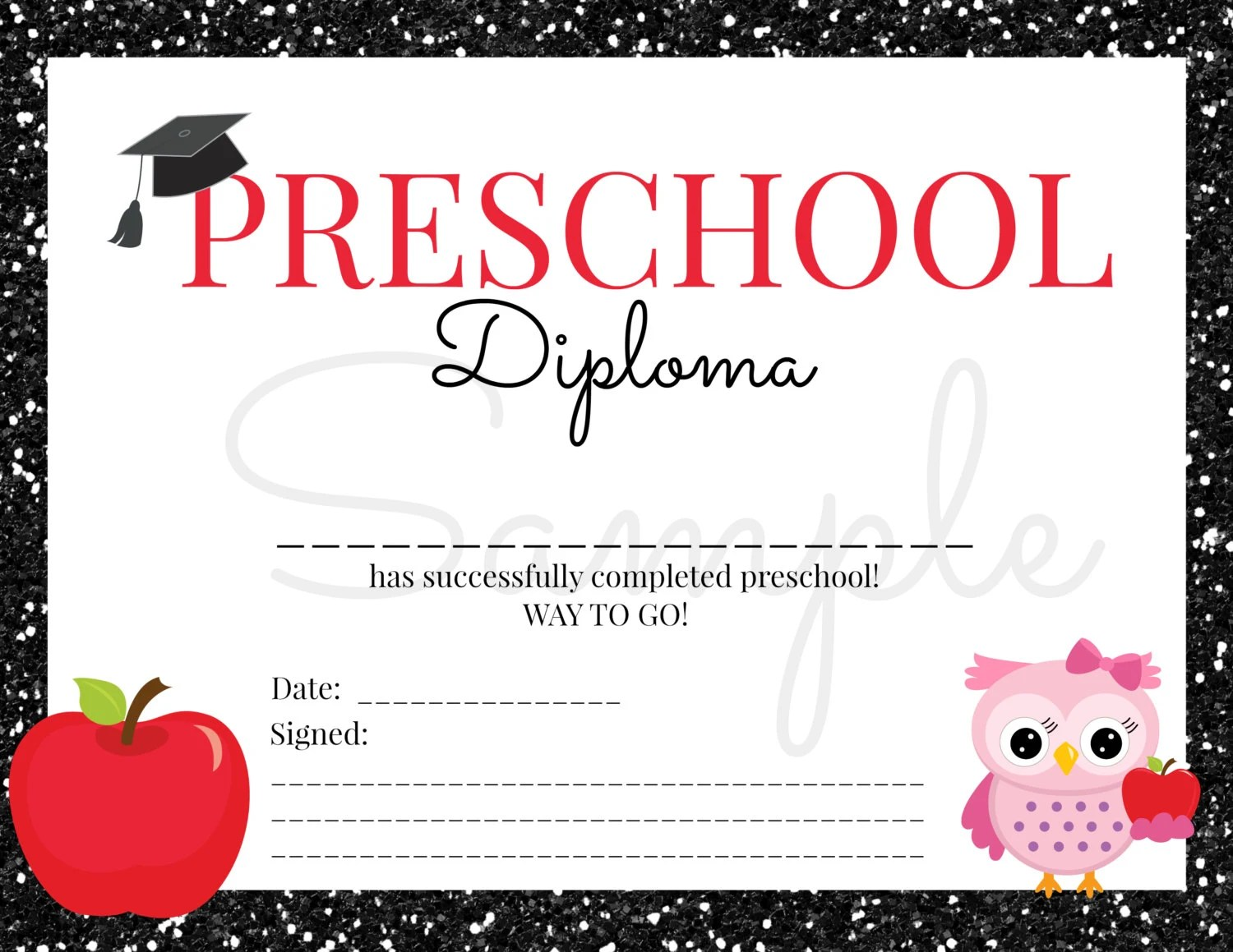 INSTANT Download Preschool GRADUATION Diploma for Girl Certificate - Printable Preschool Diplomas