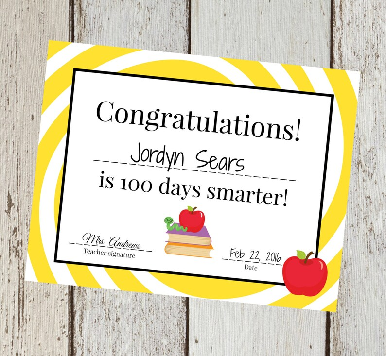 INSTANT Download Yellow 100th Day of School yellow Congrats Etsy