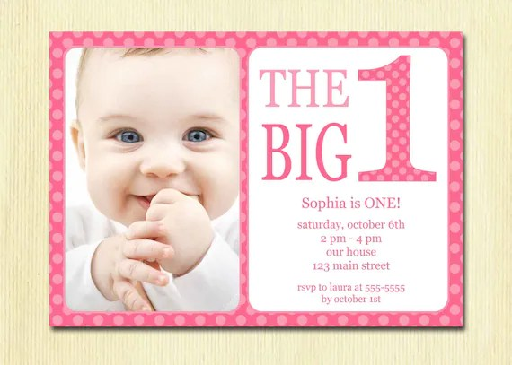 First Birthday Baby Girl Invitation DIY Photo Printable - fresh birthday invitation card for 5 year old boy