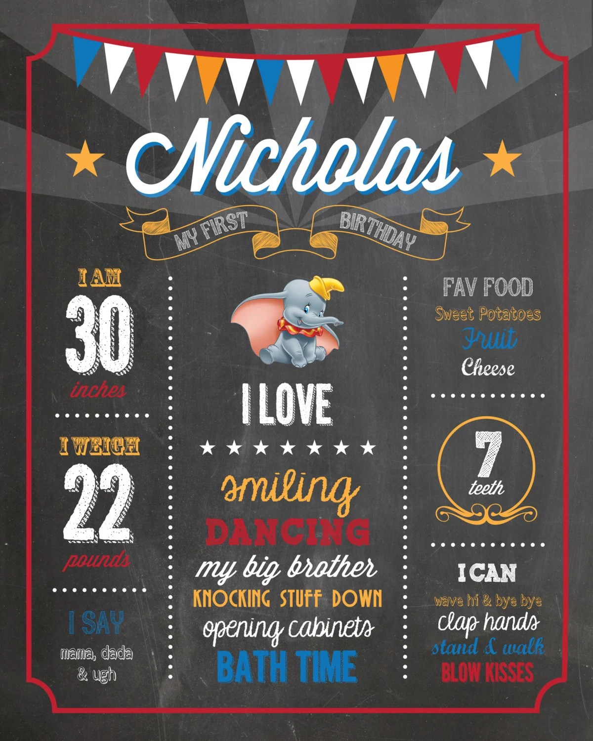 Dumbo First Birthday Milestone Chalkboard / Circus Theme Party