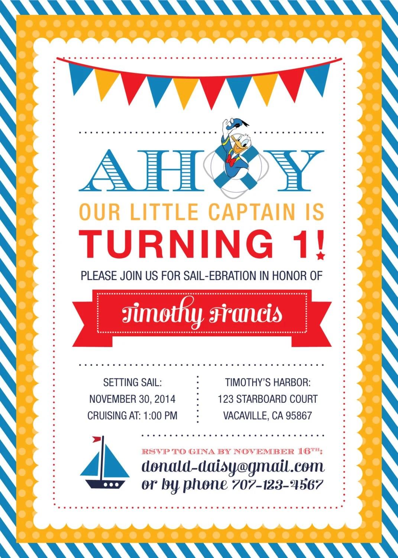 Donald Duck Sailor Birthday Invitation - PRINTABLE by Liz Bassey