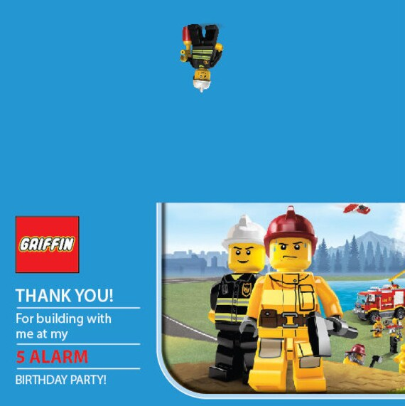 Lego Fire Personalized Goodie Bag Favor Label / PRINTABLE / Digital