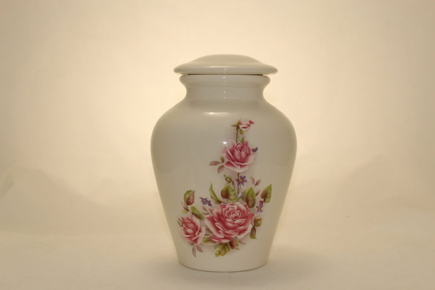 Small Ceramic Jars With Lids Small Ceramic Jar With Lid Cremation Urn With Pink Roses