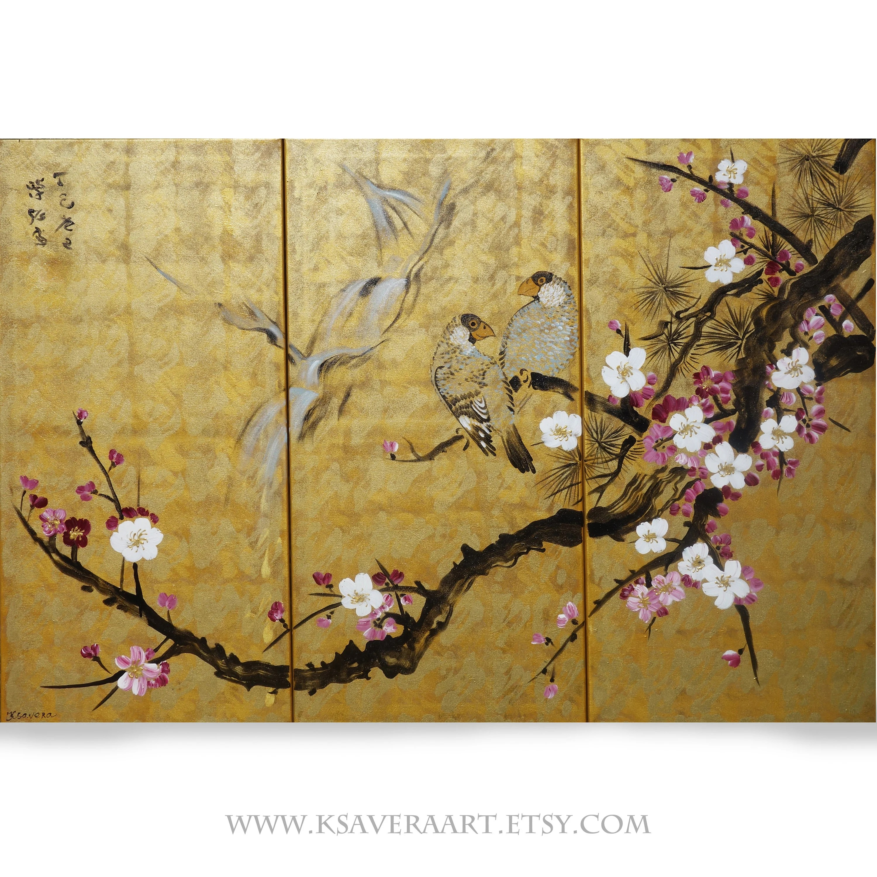 Bilder Auf Leinwand Japan Japan Art Cherry Blossom And Love Birds Japanese Style Painting J130 Large Paintings 100x150x2 Cm Acrylic Gold Wall Art By Artist Ksavera