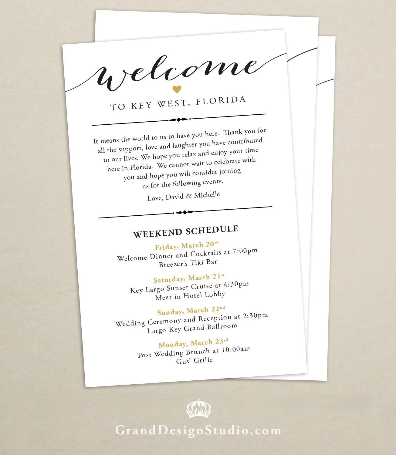 Itinerary Cards for Wedding Hotel Welcome Bag Printed Etsy