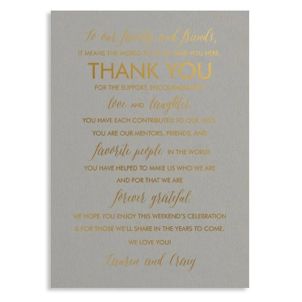 THANK YOU wedding welcome card to your guests shiny gold Etsy