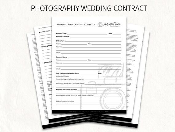 Photography wedding contract wedding contract photography Etsy