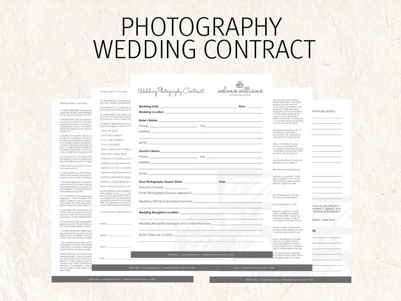 Wedding photography contract - wedding contract - photography