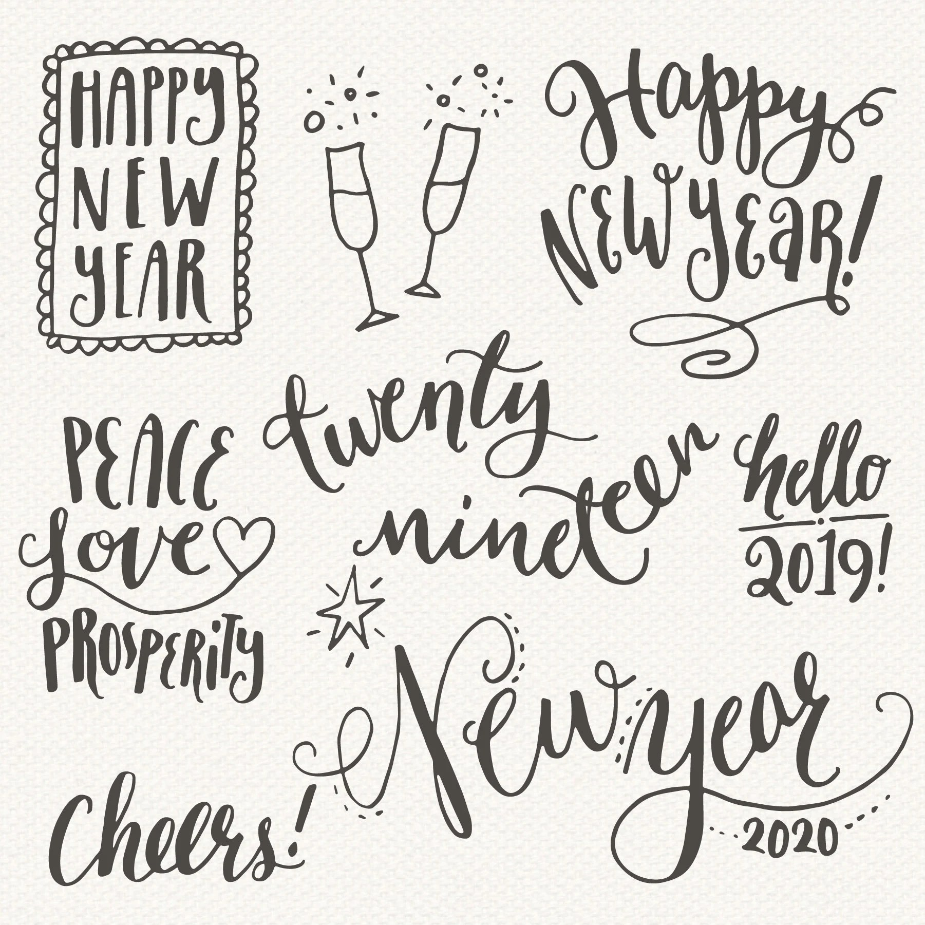 Happy New Year Clip Art   Gold PNG  Vector   2019 2020 Etsy