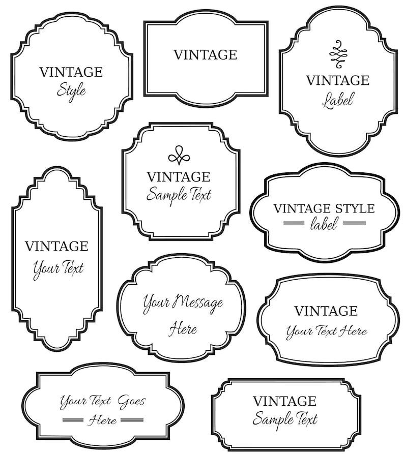Vintage Labels Clip Art   Digital Frames PNG Vector   Etsy
