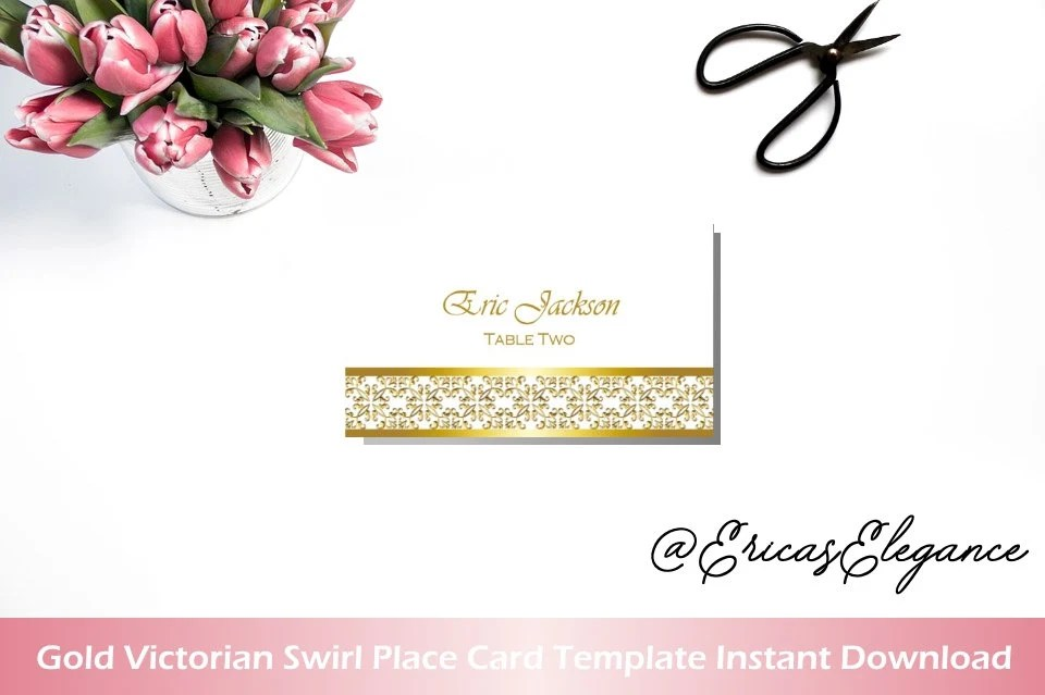 Printable Place Cards Gold Victorian Swirl Art Deco Gatsby Etsy