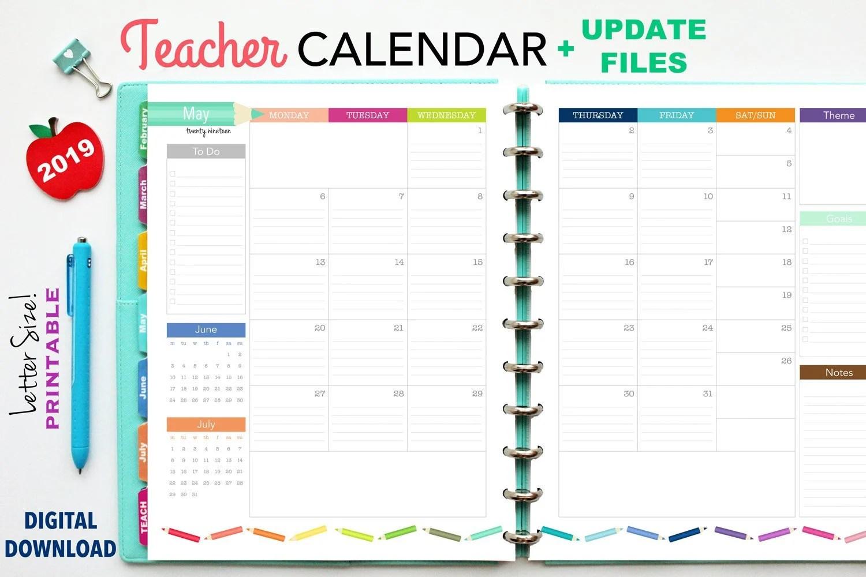 2019 Teacher Planner Calendar Update   Printable Planner Etsy