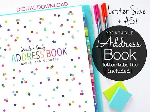 Address Book Printable Pages Planner Inserts Contacts Etsy - family address book